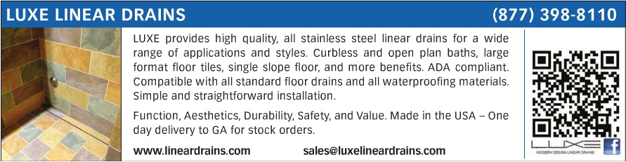 advertisement for Luxe Linear Drains